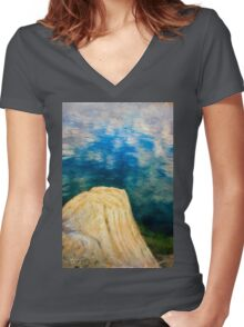 Evening on Fresno Bay Women's Fitted V-Neck T-Shirt