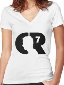 CR7 logo black Women's Fitted V-Neck T-Shirt