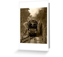 Tornado steam train in b&w Greeting Card