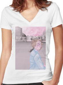 pink city. Women's Fitted V-Neck T-Shirt