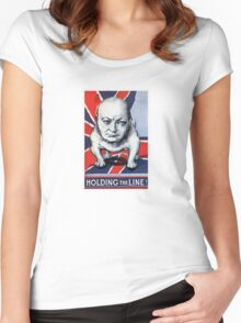 Winston Churchill -- Holding The Line! Women's Fitted Scoop T-Shirt