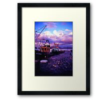 Fishing boats in the evening at lyme regis cobb Framed Print