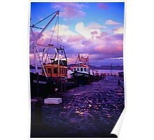 Fishing boats in the evening at lyme regis cobb Poster