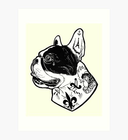 Tattooed French Bulldog Art Print