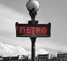 Paris Metro Sign B&W by Aisling Kerr