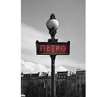 Paris Metro Sign B&W Photographic Print