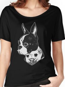 Tattooed Boston Terrier  Women's Relaxed Fit T-Shirt