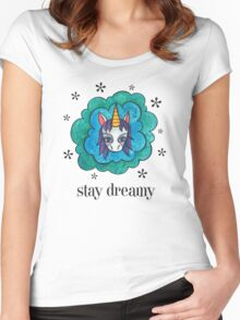 Stay Dreamy: Cute Unicorn Drawing Watercolor Illustration  Women's Fitted Scoop T-Shirt