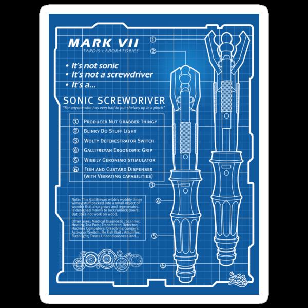 "Sonic Screwdriver ""Mark VII"" Stickers by zerobriant"