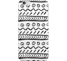Back white watercolor hand drawn aztec pattern iPhone Case/Skin