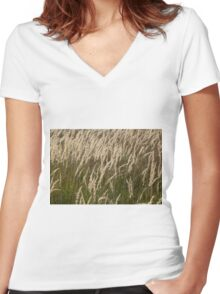 Grass in Autumn Women's Fitted V-Neck T-Shirt