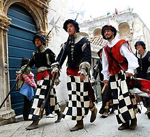 Medieval soldiers in Dobrovnik, Croatia by Sheldon Levis