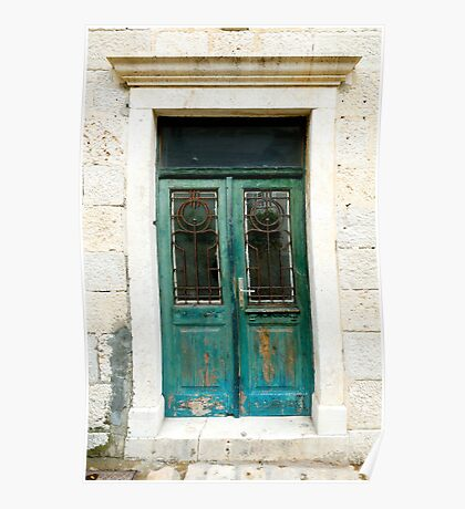 Old green door with antique art-nouveau wrought iron. Poster