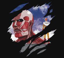 one punch man saitama attack on titan colossal titan anime manga shirt by ToDum2Lov3