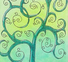 Light Blue Happy Tree by Michelle Clifton