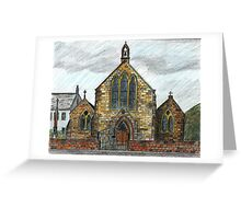 68 - ST. CUTHBERT'S R.C. CHURCH, COWPEN - DAVE EDWARDS - INK & COLOURED PENCILS - 1997 Greeting Card
