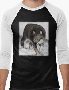 Wolf in the snow Men's Baseball ¾ T-Shirt