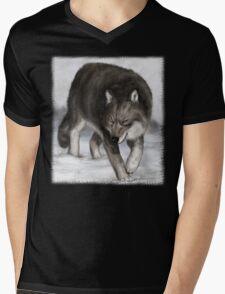 Wolf in the snow Mens V-Neck T-Shirt