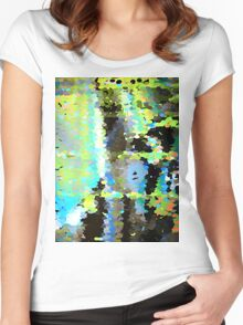 Lake surface reflecting tree blossoms Women's Fitted Scoop T-Shirt