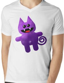 PURPLE KAT Mens V-Neck T-Shirt
