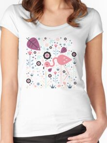 Flamingo & Chick  Women's Fitted Scoop T-Shirt
