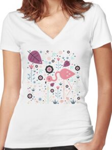 Flamingo & Chick  Women's Fitted V-Neck T-Shirt