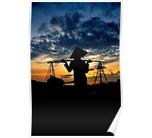 Vietnamese woman carrying Don Ganh, in silhouette Poster