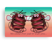 Alien bees card with text Canvas Print