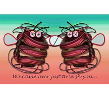 Alien bees card with text Photographic Print