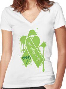 NMO Ribbon Women's Fitted V-Neck T-Shirt