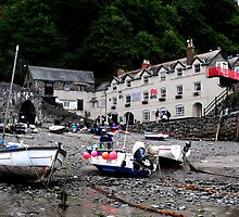 Clovelly harbour at low tide by Javimage