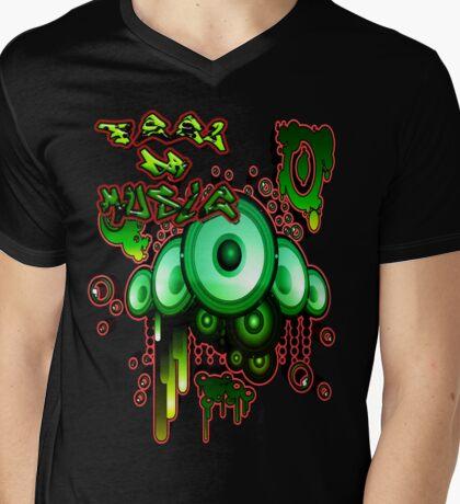 Urban Music Graffiti Style # 1 Feel DA Music Mens V-Neck T-Shirt