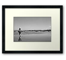 Seagull with passerby Framed Print