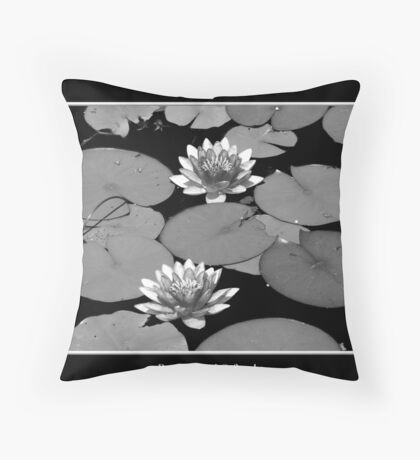 Waterlilies in Black and White Throw Pillow