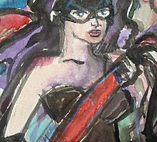 Lady Painter in Mask Detail by Anthea  Slade