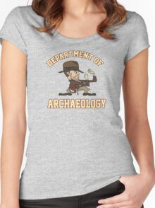 Dept. of Archaeology with Fighting Mascot Women's Fitted Scoop T-Shirt