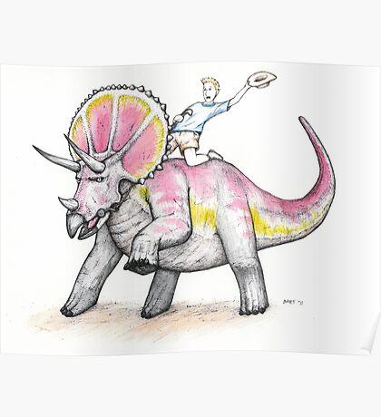 Yippie Ki-yay Triceratops Poster