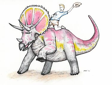 Yippie Ki-yay Triceratops by Bart Castle