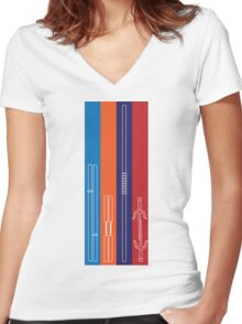 Leonardo, Michelangelo, Donatello, Raphael - Stripes Women's Fitted V-Neck T-Shirt