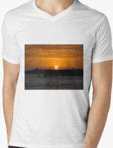 Sunset Over The Water Mens V-Neck T-Shirt