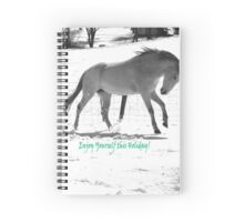 Paso Fino Grey White Horse Running in The Snow Spiral Notebook