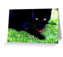 Cat playing at protecting lost mouse ... Greeting Card