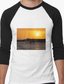 Sunset and Dolphins Men's Baseball ¾ T-Shirt