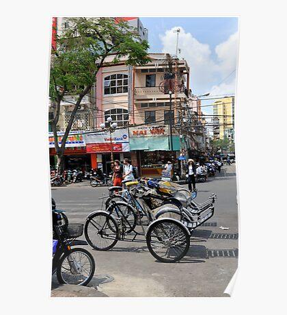 Cyclos (bicycle rickshaws), Ho Chi Minh City, Vietnam Poster