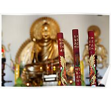 Decorated incense sticks in Vietnamese Buddhist temple Poster