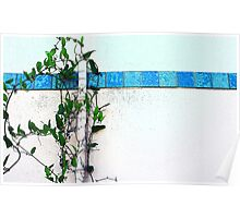 wall with blue tile Poster