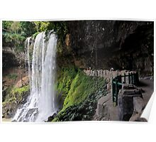 Children behind Dambri (Dam Bri) waterfall, Vietnam Poster