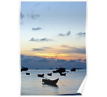 Fishing boats at sunset, Hang Dua bay, Vung Tau, Vietnam Poster