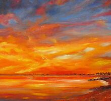 Hythe bay on fire ! by Beatrice Cloake Pasquier