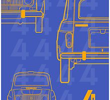 Renault 4L ' Quatrelle' Card Illustration by Autographics